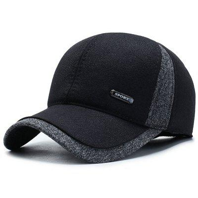 Muž Warm Winter Hat Ear ochrannej Color Block Leisure Cap