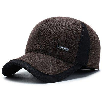 Man Warm Winter Hat Ear Protective Color Block Leisure Cap