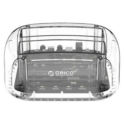 Orico 6239U3 3.5 inch Type-B External Mobile Hard Disk Dock 2 Bay Transparent USB3.0 Enclosure Max. 24TB Expansion