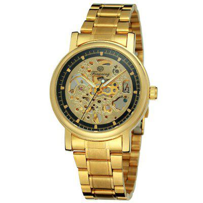 Forsining Men's Business Hollow Semi-automatic Mechanical Watch Fashion Stainless Steel Band