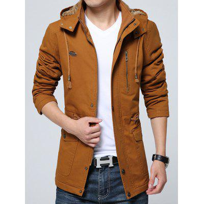 Heren Warm Plus Velvet Jacket Coat Zipper Hooded Outdoor
