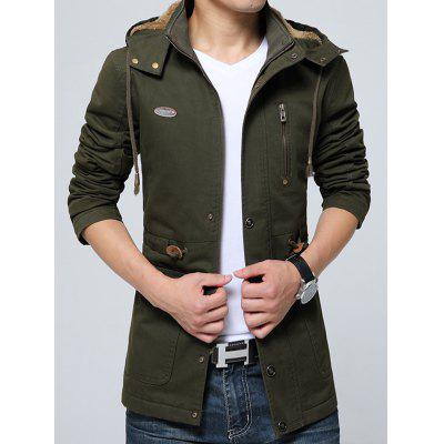 Men's Warm Plus Velvet Jacket Zipper Hooded Outdoor Coat