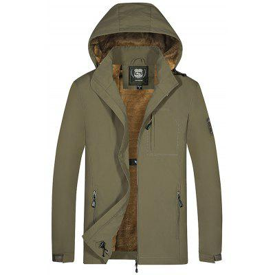 Men's Casual Solid Color Jacket Hooded Coat Zipper Top Fashion