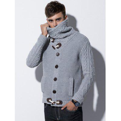 Men's High-necked Sweater Horn Button Knit Coat with Pocket Solid Color Creative