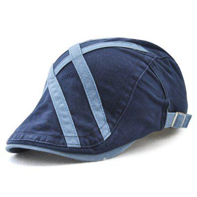 Men's Patch Strip Striped Fashion Beret Adjustable Head Circumference Hat