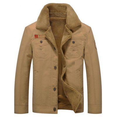 Men's Fashion Furry Jacket Lapel Buttons Warm Coat