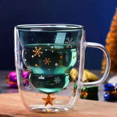 Christmas Tree Mark Coffee Double-layer Cup Creative Heat-Resistant Star Cup 300ml