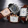 Benyar 5113 Men's Fashion Three Eye Quartz Watch Waterproof Genuine Leather Band - MULTI-A