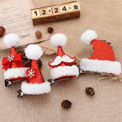 Cute Hat Christmas Decoration Hairpin Volwassen Kinderen Sequin Cap Duckbill Clip Cartoon 4 stuks