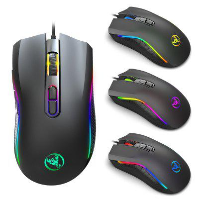 HXSJ A869 7 Buttons Programmable USB Wired Optical Marquee Gaming Mouse with Macro Function Ergonomics Design