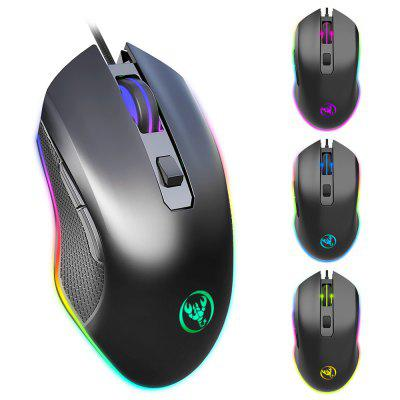 HXSJ A866 6 Keys Wired Gaming Mouse RGB 6400 DPI ratos ergonómicos ajustável