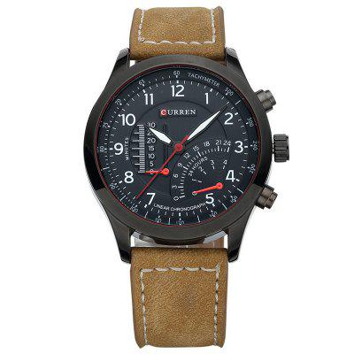 CURREN 8152 Men's Waterproof Matte Genuine Leather Quartz Watch Luminous Wristwatch Unique Timer Dial