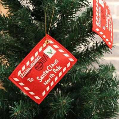 Christmas Tree Decorative Pendant Creative Blessing Card Decoration Christmas Non-Woven Red Envelope 5pcs