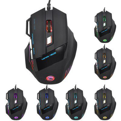 HXSJ A868 Wired USB Gaming Mouse with Colorful LED Light 5 Adjustable DPI Levels 7 Programmable Keys