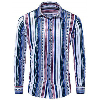 FREDD MARSHALL Men's National Style Printing Shirt Striped Long-sleeved T-shirt Lapel Button-down Top