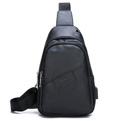 Men's Casual Soft PU Chest Bag Travel Mini Crossbody Pack with USB / Headphone Jack