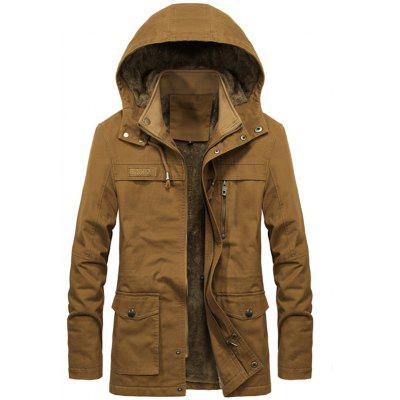 Winter Plus Velvet Jacket Simple Solid Coat Color Hooded Heren