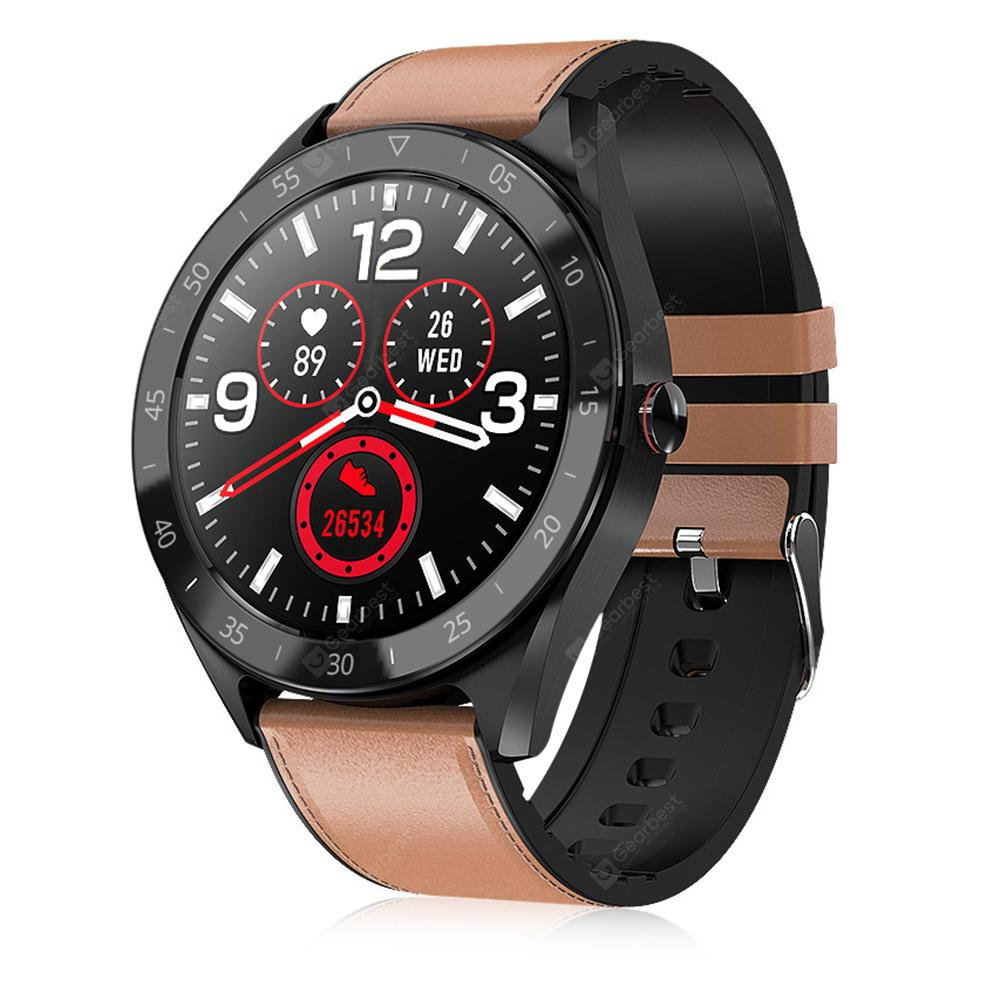 Alfawise Watch 6 47mm Smart Watch 24 Hours Health Data Monitor 7 Sports Modes Call Message Reminder Music Camera Control - Brown