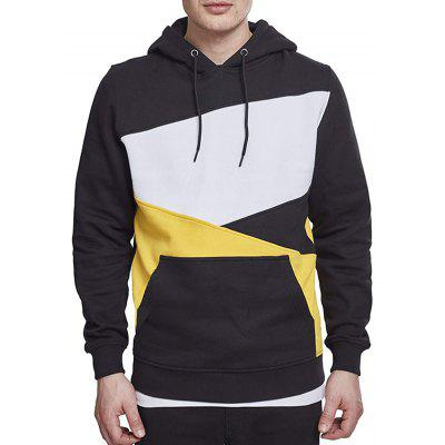 Men's Fall Winter Color Block Hoodie Fashion Long-sleeved Pullover Sweater with Drawstring