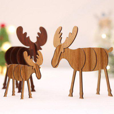 Christmas Decoration Christmas Gift DIY Wooden Deer Decorative Ornament 4pcs