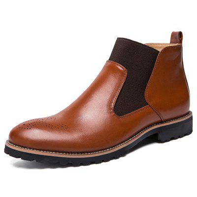 AILADUN Men's Business Casual Non-slip Boots Patchwork England Style Shoes Microfiber Leather Upper