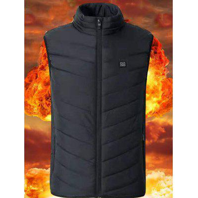 Men's Smart Heating Vest Three Gears Adjustable Winter Stand Collar Sleeveless Top