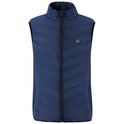Men's Smart Verwarming Vest Three Gears Verstelbare Winter Stand Collar mouwen Top