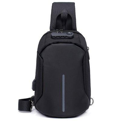 Men's Intelligent Charging Anti-theft Chest Bag with Password Lock + Night Reflective Strap