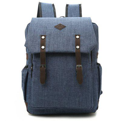 Men's Double Belt Canvas Backpack Leisure Mini Travel Bag
