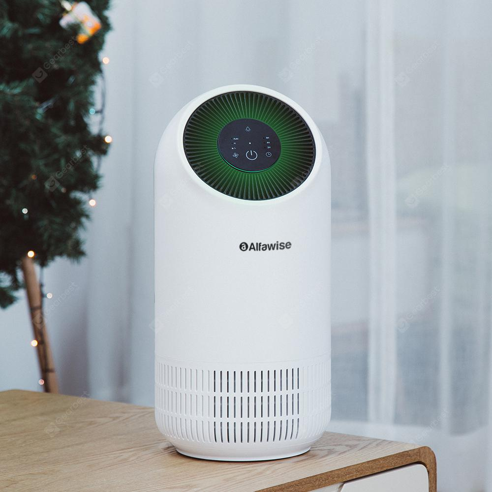 Alfawise P2 HEPA Smart Air Purifier Air Quality Monitor 3 Wind Speeds Touch Screen Low Noise 110m�/h CADR 3-layer Filter System - White Air Monitor Version