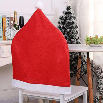 Non-woven Christmas Hats Decorated Christmas Chair Cover 4pcs