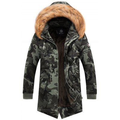 Men Camouflage Long Parka Furry Collar Print Coat Warm Fashion