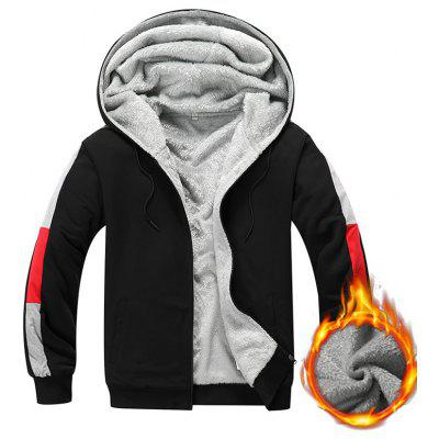 Men's Hooded Warm Hoodie Fashion Sweater Patchwork Designed Sleeves