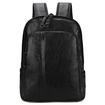 Men's PU Backpack Large Capacity Travel Bag Computer Pack