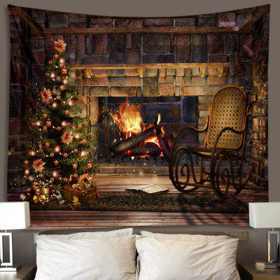 Christmas Tree Stone Fireplace Printing Polyester Brushed Tapestry