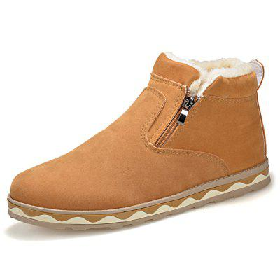 Pánské Solid Color Warm Short Boots Fashion Zip + Wave Soles