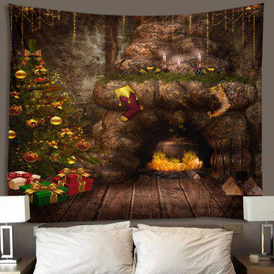 Christmas Tree Fireplace Cave Printing Polyester Brushed Tapestry