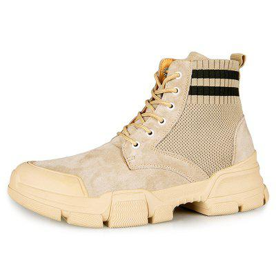 AILADUN Men Patchwork Thick Soles Tooling Boots Durable Outdoor High-top Shoes