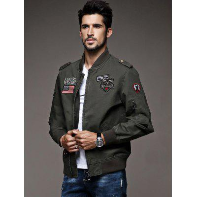 Men's Fashion Tooling Jacket Zipper Stand Collar Coat with Appliques