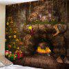 Christmas Tree Fireplace Cave Printing Polyester Brushed Tapestry - BROWN BEAR