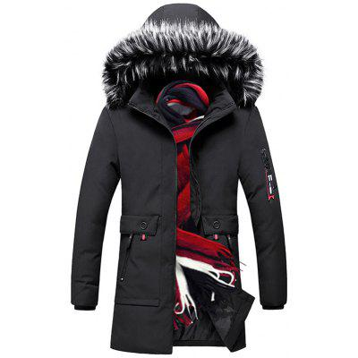 Herrenmode Warmer Langer Parka Pelzkragen Mantel Winter Outdoor Kleidung
