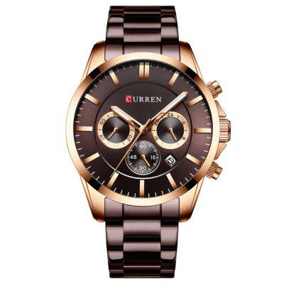 CURREN 8358 Men's Three-eye Six-pin Quartz Watch Business Waterproof Wristwatch with Calendar