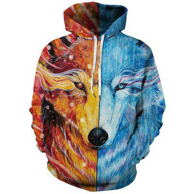 Masculin 3D digital de imprimare Hoodie Wolf model Toamna Iarna Loose Pulover gluga Trening Top