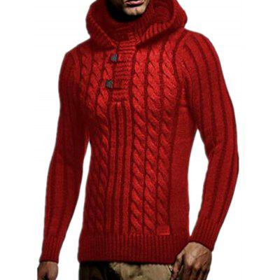Men's Winter Fashion Sweater Hooded Hemp Pattern Knit Top