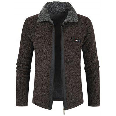 Men's Winter Casual Coat Thick Lapel Knit Top Zipper Jacket