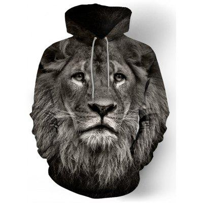 Men's Lion Print Hoodie Fashion Creative Pullover Comfort Top