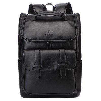 Men's Large Capacity PU Backpack Simple Easy-match Waterproof Pack External USB Charging Port