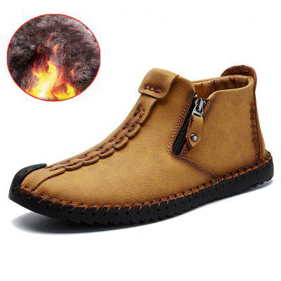AILADUN Men's Warm Patchwork Short Boots Hand-stitching Casual Shoes Slip Resistant