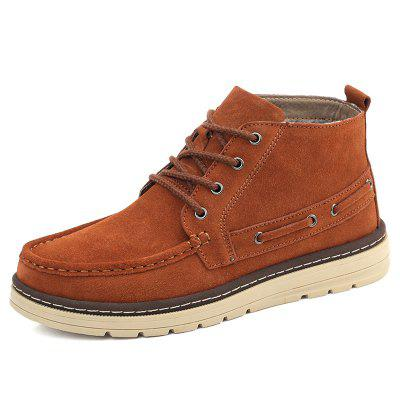 AILADUN Men Simple British Style Short Boots Lace Up Shoes Casual Slip Resistant