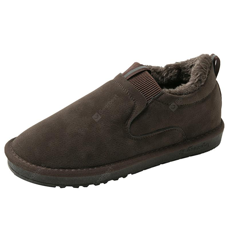 Mens Flat Round Toe Snow Boots Convenient Slip-on Casual Shoes Slip Resistant